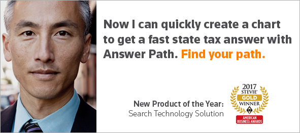 Now I can quickly create a chart to get a fast state tax answer with Answer Path. Find your path.